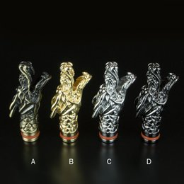 Wholesale Dragon Atomizer - Elegant Metal Dragon Shape Drip Tips Mouthpieces for e cigarette CE4 CE5 MT3 glass Atomizer Protank mods eGo Atomizer