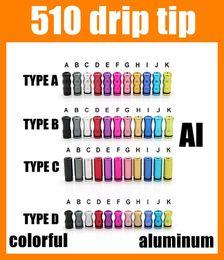 Wholesale Drip Aluminum - Drip Tips 510 Drip Tip 510 Wide Bore Serial Ecig Accessories Aluminum For Rda Rba E Cigarette Atomizer Mini Protank3 Subtank Colorful FJ156