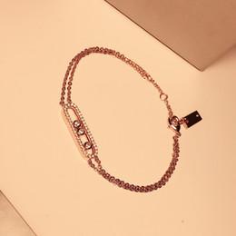 Canada Top qualité complet avec diamant CZ Acier inoxydable Cuivre micro trois pierre rose or couleur amour braceletsbangles double chaîne charme argent Offre