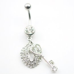 Wholesale Locks Wholesale Prices - D0024 The key and lock styles Belly Button Navel belly Rings with mix colors wholesale prices belly ring