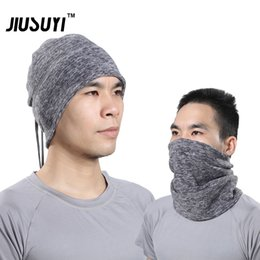 Wholesale Half Balaclava - Wholesale- Multifunction Wool Thermal Neck Gaiter Warmer Polar Fleece Half Face Mask Snowboard Headwear Balaclava Headband Scarf Hats Cap