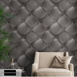 Wholesale Luxury Home Decor Wholesale - Wholesale- Luxury Modern 3D leather soft bag Wallpapers of Sofa TV Background Mural Art Wallpaper for walls Vinyl PVC Wall Paper Home Decor