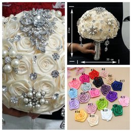 Wholesale Silk China Rose - Custom Made Bridal Bouquet Wedding Accessories Natural Manual Flowers Bridesmaid Brooch Bouquet 2015 Holding Flowers Luxurious From China