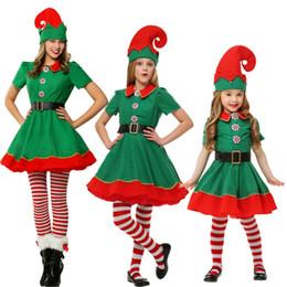 xxs vestidos de mulher Desconto Elfos de natal Trajes Cosplay Mulheres Homens Traje de Natal de Manga Longa Verde e Vermelho Menina Elf Vestido CRIANÇAS Weihnachtskostüm