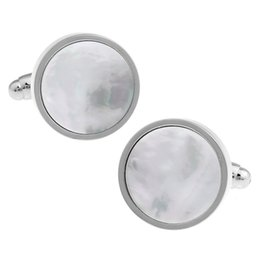 Wholesale Rare Shells - High Quality New Classic Silver Copper Mens Wedding Cufflinks Novelty Rare Fancy Round Shell & Clean Cloth 157529