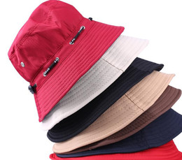 Wholesale Wide Brimmed Hats For Women - Wholesale-2015 Free shipping Unisex Fishing Bucket Canvas Boonie Hat Sun Visor Cap Travel Outdoor Sport Hats for Men and Women