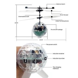 Wholesale Led Lighted Helicopter Wholesale - RC Flying Ball Drone Helicopter Ball Built-in Shinning LED Lighting For Kids Toy Xmas Gift 60 pcs YYA778