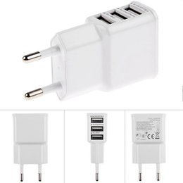 Wholesale Eu Wall Charger 4s 2a - 3 Ports USB AC usb Wall Charger 5V 2A EU US Plug Power Adapter dual micro USB cable for Iphone 4 4S 5 5S 6 Samsung Galaxy S4 S3 S5 CAB054