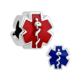 Wholesale Fit Symbol - European style red blue enameled medical alert symbol metal bead infant lucky charms Fits Pandora charm bracelet