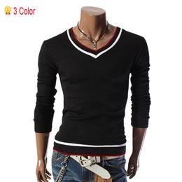 Wholesale Wholesale T Shirts Dropshipping - Wholesale-2015 New Arrival Men T Shirts Tops Tees Fashion Long Sleeve T-shirt Mens Sports Casual V-neck Cotton M~XXXL Dropshipping
