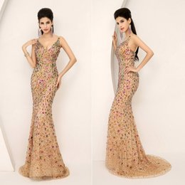 Wholesale Christmas Stocking Images - 2015 New Crystal Prom Dresses With V Neck Beaded Bling Mermaid Sweep Train Real Image Elegant In Stock Christmas Pageant Evening Party Gowns