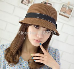 Wholesale Flax Straw - Wholesale-Fashion Women Girls Straw Hat Cap Flax Fedora Brim Bowknot Trilby Boater Summer Beach Sun Hat Coffee Beige Free Shipping