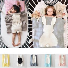 Wholesale Korean Bedspreads - 5 Colors Newborn Baby Rabbit Sofa Blanket Super Soft Warm Hand Bedspread Crocheted Knitting Blankets 73x105cm