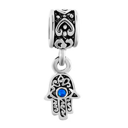 Wholesale Blue Hamsa Hand Bracelet - Hamsa hand blue evil eye dangle metal slide bead European charm fit Pandora Chamilia Biagi charm bracelet