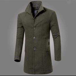 Marineblauen trenchcoat männer online-Herbst-Männer Fashion Solid Langarm-Mantel Parka Mantel Trench Navy Blue / Schwarz / Burgund / Army Green / Dark Grey
