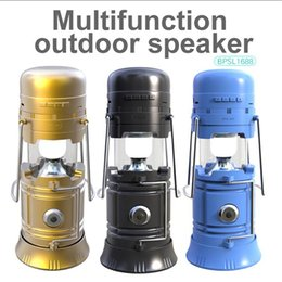 Wholesale Solar Mp3 Player - Portable Outdoor Bluetooth Speaker LED Camping Lantern Solar Collapsible Light for Camping Hiking Wireless Speakers TF Card FM Radio
