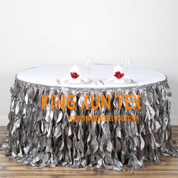 Wholesale round table sizes - Round Size Taffeta Table Skirt \ Table Cloth Skirting For Wedding And Event Decoration Free Door Shipping