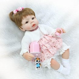 Wholesale Pink Doll Dresses - Wholesale- Soft Lifelike Newborn Baby Doll Silicone Girl Doll Pink Dress 16inch Kids Xmas Gift