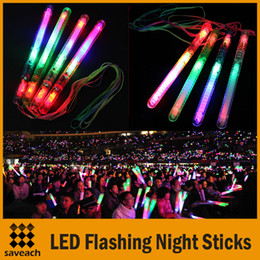 Wholesale Stick Lights Wholesale - Brand new Multi Colorful 7 Modes LED Flashing Night Light Lamp Glow Wand Sticks + strap Birthday Christmas Party festival Camp