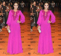 Wholesale Pearl Pink Celebrity - Red Carpet Dresses 2015 Long Sleeve Arabic Muslim Evening Dress Pink Luxury Rhinestone Dubai Kaftan Abaya Beaded Islamic Celebrity Gowns HY