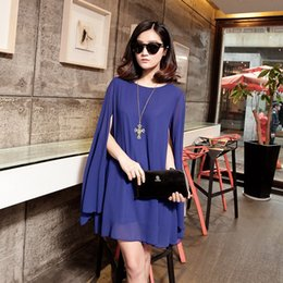 Wholesale Plus Summer Shift Dresses - New Women Chiffon Plus size Casual Dress Sexy Long Sleeve Loose One-piece Shift Ladies Spring Summer Dresses 11 Colors Without Belt