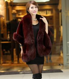Wholesale Red Fox Fur Coats - Fur coat Female Fur vest Women's Rabbit Fur outerwear Coat Fox Collar Outerwear Lady Winter Sleeveless Vest