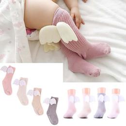 medias al por mayor del arco del cordón de las muchachas Rebajas Bebé recién nacido Kids Girl Toddler Angel Wings Rodilla Calcetines largos Algodón Stocking 4 Color 2 Tamaño