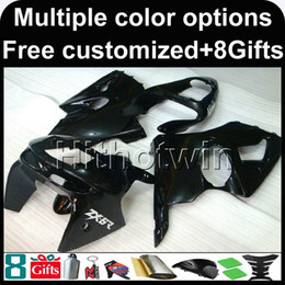 Wholesale Zx6r Silver Black - 23colors+8Gifts BLACK motorcycle cover For Kawasaki ZX-6R 1998-1999 ZX6R 98 99 ABS Plastic Fairing