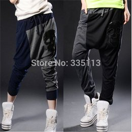 Wholesale Girl Cargo Pants Baggy - 2015 Fashion Women Girl Lady Hip-hop Dance Baggy Harem Pants Hippie Skull Loose Low Waist Sport Sweat Pants Casual Pants