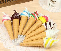 Wholesale ice cream stationery - 24pcs New Novelty ice cream ball pen Stationery Ball Point Pen Office&Study gift Pen Promotion Pen Wholesale