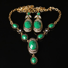 Wholesale Cheap Acrylic Gem Necklace - Very Cheap Pakistan Style Women Gold Chain Green Resin Gem Necklace Earrings Fashion Jewelry Set