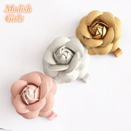 Wholesale Gray Flower Hair Clips - Artificial Leather Flower Design Gold Hair Accessories Kids Barrettes Famous Pink Rose Floral Hair Clips PU Leather Hairpins