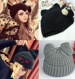 Wholesale korean style hats for women - 2 Styles Cat Ears Cute Hats for women brand knitting warm 2016 korean fashion hot selling lovely Beanies Winter knitted Cap
