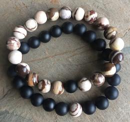 Wholesale 8mm jasper beads - 8mm Matte Black Onyx Bracelet ,8mm Matte Brown Zebra Jasper Bracelet,Gemstone Beads Bracelet Elastic Gemstone Bracelet,Gifts