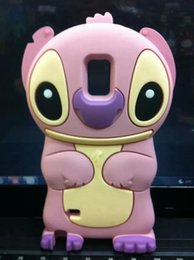 Wholesale Galaxy Note Animal Cases - 3D Stitch For Samsung GALAXY Note 4 Note4 Cartoon Cute Soft Silicone gel Case Animal Blue Long Ears cell phone rubber Back cover skin luxury