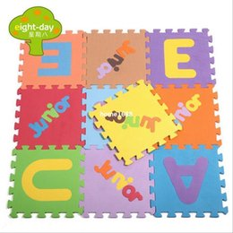Wholesale Tapete Puzzle - Wholesale 10pcs cushion foam pad baby learning carpet digital English fruit puzzle mats thick stitching crawling foam tapete