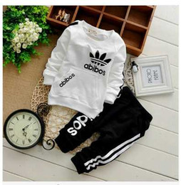 Wholesale New Set Boy - 2015 Spring Autumn Children Clothing Sets Boys Girls Kids Brand Sport Suit Tracksuits 2pcs Cotton Long Sleeve Shirt+pants New