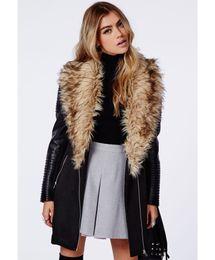 Wholesale Long Leather Plus Size Coats - 100% praise Luxury faux fur big lapel Warm Winter women PU leather sleeve long trench patchwork black coat wool coats plus size