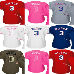 Wholesale Jersey Texas Red - Hot Sale 2017 Womens Texas Jerseys 3 Russell Wilson Ladies Shirt Cool Base White Red Blue Grey Pink Fashion Green Stitched Baseball Jerseys