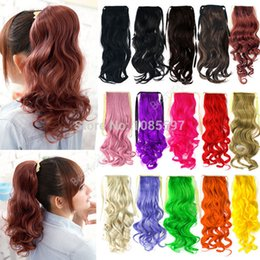 Wholesale Tie Ponytail Hairpiece - 2014 Ladies colorful Long fake hair Wavy Curly Ponytail Hair Piece Tress Clip Hairpiece Extension (fx231) Free Shipping