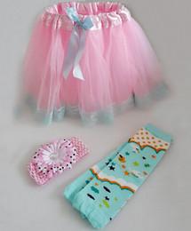 Wholesale Tutu Pink Trim - 6%off cheep!children dress Toddler Girl Layered Tutu Skirts With Ribbon Trimmed 3 PCS tutu skirt + 3PCS headbands + 3PCS foot cover,9pcs KL