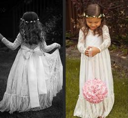 Vestir meninas grávidas on-line-Manga longa Flor Menina Vestidos Ruffled Lace Handmade Vestidos Formais Do Vintage Princesa Especial Vestido Grávida