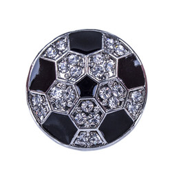wholesale fashion football bracelet Promo Codes - NSB2607 Hot Sale Snap Jewelry Button For Bracelet Necklace Fashion DIY Jewelry Crystal Football Design Alloy Snaps jewelry making,noosa