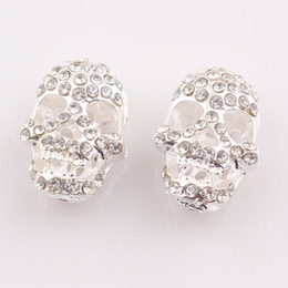 Wholesale Skull Connector Beads - Multi Colors Crystal Skull Head Spacer Beads Connector For DIY Shamballa Jewelry Findings Wholesale ZBE39