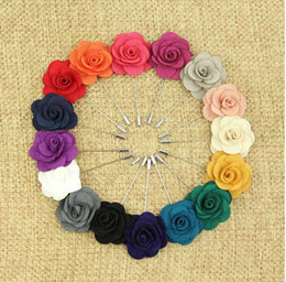 Wholesale Wholesale Flower Pins - Hot Lapel Flower Man Woman Camellia Handmade Boutonniere Stick Brooch Pin Men's Accessories in 16 Colors