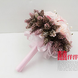 Wholesale Fake Flower Balls - Unique Handmade Bridal Wedding Bouquet by Artificial Fake Flowers Vintage 22CM Pink Real Touch Peony Bouquet Flowers Ball