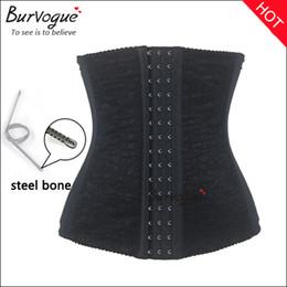 Wholesale Plus Size Corset Steel Belt - Burvogue 2016 hot sale waist training corsets shaper black underbust corset steel waist cincher shaper belt body shapers for women