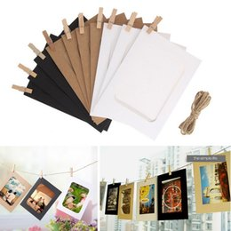 Wholesale Wall Hanging Photo Album - 5 6 inch DIY Combination 10Pcs lot Wall Photo Frame with 10pcs Clips and Rope DIY Hanging Wall Picture Album Kraft Home Decoration