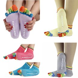 Wholesale Colorful Over Knee Socks - Feitong Womens Fitness 5-Toe Cotton Colorful Yoga Gym Non Slip Massage Toe Sports Socks Full Grip Free Shipping&Wholesales