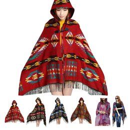 Wholesale Ladies Hooded Cloaks - Wholesale-Women Lady Vintage Hooded Cloak Cape Bohemian Fringed Shawl Scarf